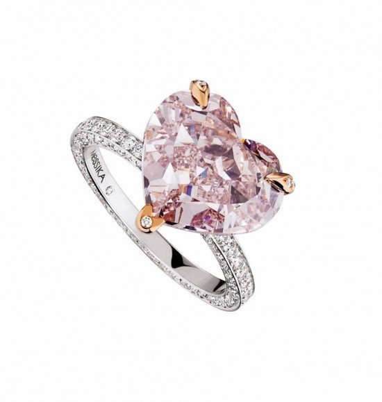 кольцо с розовым сапфиром